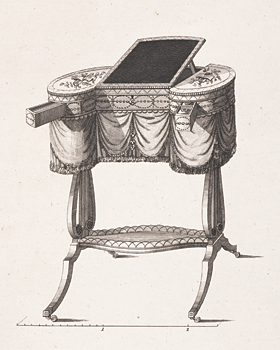 "Fig. 8: Design for a ""Ladies Work Table,"" Plate 26 in Thomas Sheraton's Appendix To The Cabinet-Maker and Upholsterer's Drawing-Book (London, 1791–1794). Courtesy, The Winterthur Library: Printed Book and Periodical Collection."