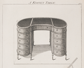 "Fig. 7: Design for ""A Kidney Table,"" Plate 58 in Thomas Sheraton's The Cabinet-Maker and Upholsterer's Drawing-Book (London, 1791–1794). Courtesy, The Winterthur Library: Printed Book and Periodical Collection."