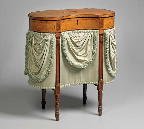 Fig. 4: Sewing table made by Robert McGuffin for Henry Pratt, Philadelphia, 1808. Satinwood, satinwood and rosewood veneers, mahogany and yellow poplar. H. 28-3/8, W. 26-1/8, D. 13 in. Collection Yale University Art Gallery.