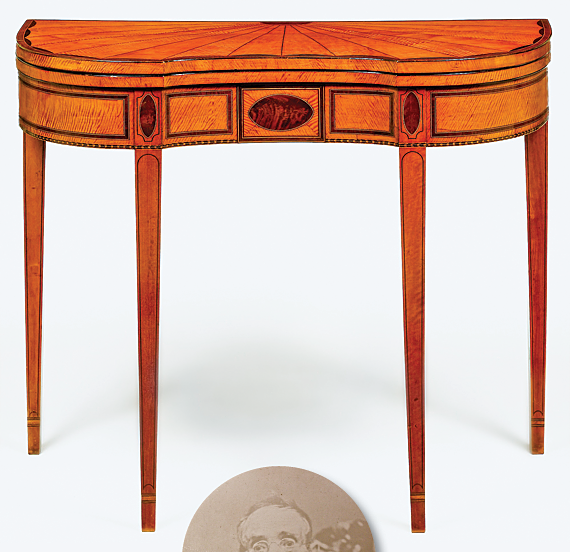 Fig. 1: One of a pair of card tables made by Robert McGuffin, Philadelphia, 1807. Satinwood and satinwood, mahogany, and rosewood veneers with white pine and oak. H. 29-1/2, W. 35-5/8, D. 18 in. Collection of Mrs. George M. Kaufman. Photography by Gavin Ashworth.