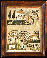 "Fig. 4: Sarah Gaskill, 1804. Silk and paper on linen, 10-1/2 x 8-1/4 inches. Initialed ""SG."" Courtesy, private collection"