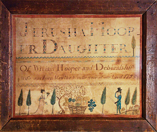 Fig. 8: Birth record, Jerusha Hooper (b. 1795), 1804. Watercolor on paper, 7-7/8 x 9-1/2 inches. Courtesy, private collection.