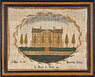 Fig. 9: Sarah L. Taylor, 1804. Silk on linen, 9 x 12 inches. Photo courtesy, Stephen and Carol Huber.