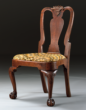 Fig. 3: Queen Anne carved walnut balloon seat side chair, Boston, 1750. H. 38-1/2 inches. Sotheby's NY, Sale 7594, lot 58. Courtesy, Sotheby's.  A photograph from the collection of Mr. & Mrs. Ted Samuel of San Francisco, California was published in January 1954 issue of The Magazine Antiques (page 47). In the photo caption, this chair was identified as having been acquired from a family that came to California in 1890 bringing with them heirlooms from the Foster, Hiller, Appleton and Wentworth families of Boston.