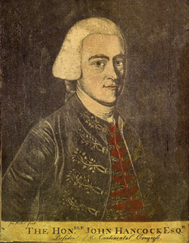 "Fig. 4: Joseph Hiller (1746–1814) after Copley, The Hon. John Hancock, ca. 1770. Inscribed lower left border ""Jos. Hiller fecit."" Mezzotint with watercolor, 9-7/8 x 7-7/8 inches. Courtesy, Peabody Essex Museum, Salem, Mass.  Hiller's mezzotint of Hancock survives in two versions. The earliest version is in the collection of the Smithsonian identifies the sitter as the Honorable John Hancock Esq. The later version as shown here identifies the sitter as President of the Continental Congress. Hiller, like Hancock, was a patriot. He supported the cause by offering subscriptions to the Massachusetts-Spy at his shop in Salem lending a voice to the cause."