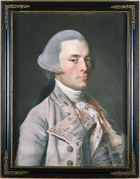 Fig. 2: John Singleton Copley (1738–1815), Governor John Wentworth, 1769.  Signed and dated, center right: JSC in monogram.  Pastel on laid paper, 23-1/2 x 17-3/4 inches. Courtesy, Hood Museum of Art, Dartmouth College, Hanover, New Hampshire; gift of Mrs. Esther Lowell Abbott in memory of her Husband Gordon Abbott.