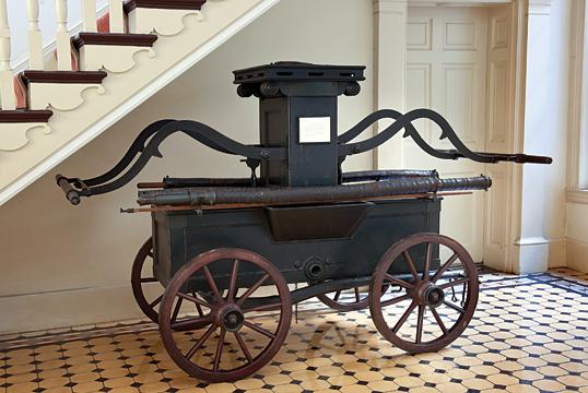 American hand-operated fire pump, Philip Mason, Philadelphia, 1803. H. 67, L. 112 in., Pennsylvania Hospital Historic Collections.