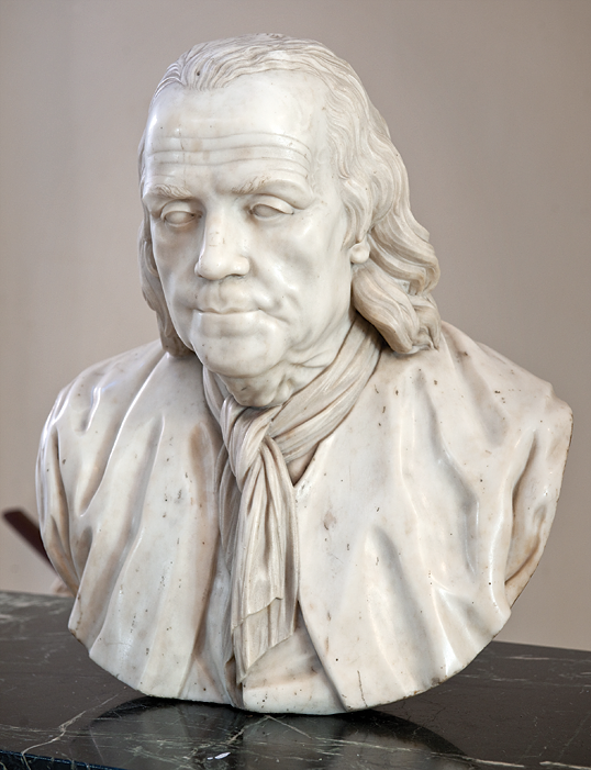 Bust of Benjamin Franklin, attributed to Jean-Jacques Caffieri (1725–1792), eighteenth century. Marble. H. 23, W. 22 in. Pennsylvania Hospital Historic Collections.