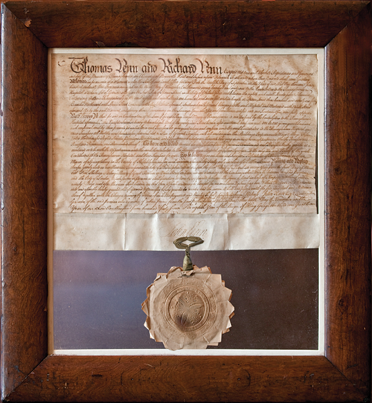 Penn family land grant, with original Penn family wax seal, signed in 1767 by John Penn (1725–1795), Lieutenant-Governor of Pennsylvania at the time, who acted on behalf of his father (Richard) and his uncle. Parchment, H. (including seal) 18-12, W. 17 in. Pennsylvania Hospital Historic Collections.