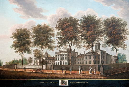 Attributed to Thomas Birch (1779–1851), South East View of the Pennsylvania Hospital, Philadelphia, ca. 1799–1800. Oil on canvas mounted on two-way plywood panel, 30-1/2 x 44-1/2 inches.