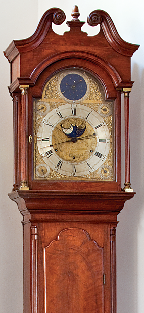 Tall clock, David Rittenhouse (1732–1796), Norriton (later Norristown), Pa., ca. 1770; case by Benjamin Randolph (1737?– 1791). Mahogany. H. 8 ft. 7 in. Donated by Sarah Zane, Pennsylvania Hospital Historic Collections.