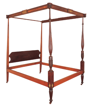 Fig. 3: Tall-post bed, Thomas Seymour (1771–1848), Boston, Mass. ca. 1812–1817, carvings by Thomas Wightman (d. 1819). Mahogany, birch, ash, eastern white pine, with blistered maple veneer, and gilt brass mounts. H. 92-1/2, W. 66, D. 81-1/2 in. Photography by David Bohl.