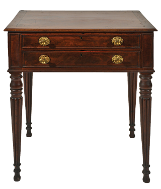 Fig. 10: Lady's work table, Thomas Seymour (1771–1848), Boston, Mass. ca. 1812–1815. Mahogany, mahogany veneer, eastern white pine; original brass hardware. H. 29, W. 22, D. 15-3/4 in. Photography by Robert D. Mussey Jr.