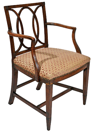 Fig. 12: Armchair, part of a partial set with two side chairs, John and Thomas Seymour (1771–1848), Boston, Mass, ca. 1795–1805. Curly- and bird's-eye maple, birch (upholstery replaced). The pattern of the back is derived from a design for glass door bars in the London Cabinetmakers Price Book for 1803, a copy of which the Seymours may have owned. H. 35, W. 21-3/4, D. 21-1/8 in. Photography by Robert D. Mussey Jr.