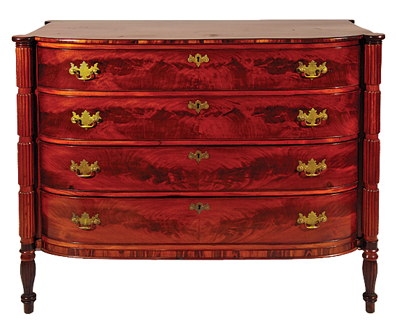 Fig. 9: Chest of drawers, Thomas Seymour (1771–1848), Boston, Mass., ca. 1810–1815. Mahogany, mahogany veneer, unidentified tropical wood, possibly Dalbergia spp., eastern white pine; hardware is not original. H. 39-1/2, W. 46, D. 21-1/4 in. Photography by Robert D. Mussey Jr.