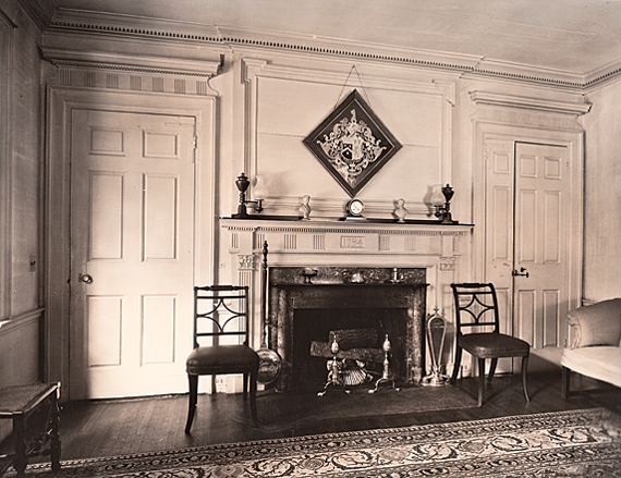 Fig. 13: Interior Sitting Room, Isaac Davenport House, Milton, Mass., ca. 1939. Photography by Arthur Haskell. Wakefield Trust archives.
