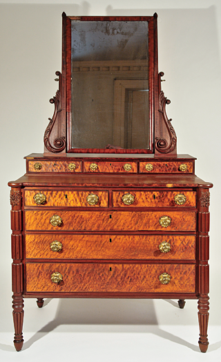 Fig. 4: Dressing table with mirror, Thomas Seymour (1771–1848), Boston, Mass., ca. 1812–1817; carvings by Thomas Wightman (d. 1819). Mahogany, eastern white pine, ash, with blistered maple, and curly mahogany veneers. H. 40-1/4, W. 38-1/4, D. 20 in. Photography by Robert D. Mussey Jr.