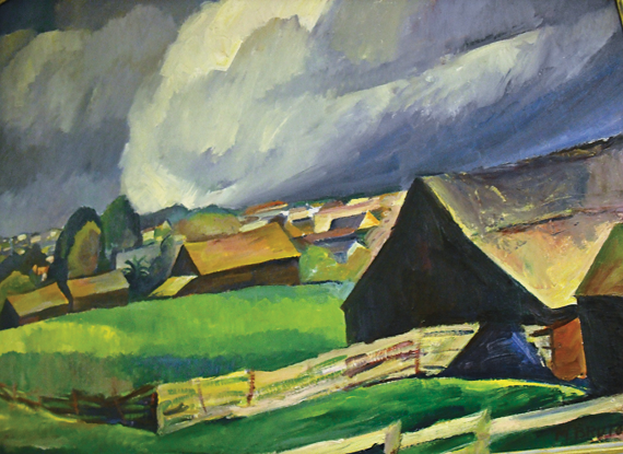 Fig. 7: Margaret Bruton (1894–1983) Barns on Cass Street, 1925 Oil on canvas, 38 x 44 inches Courtesy, Monterey Museum of Art, Monterey, Calif.  Gift of the artist