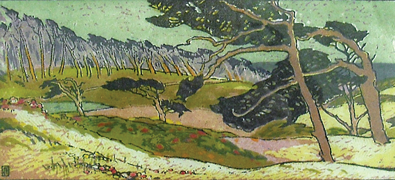 Fig. 5: Pedro Joseph de Lemos (1882–1954) Old Pines at Monterey, 1918 Woodblock print on paper, 16-1/2 x 22-1/2 inches Courtesy, Monterey Museum of Art, Monterey, Calif. Gift of Paula and Terry Trotter, Trotter Galleries