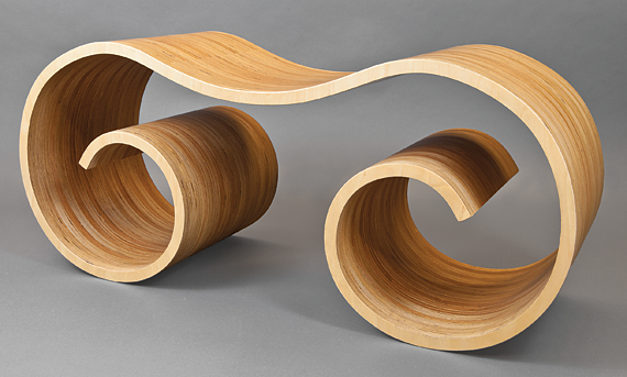 Fig. 8: Ionic Bench designed by Laurie Beckerman (b. 1953); manufactured by Heritage Woodshop (est. 1995), Brooklyn, N.Y., 2010. Baltic birch plywood laminate. H. 21, W. 49, D. 18 in. Photography by Douglas J. Eng.