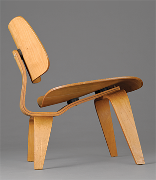 Fig. 7: LCW (Lounge Chair Wood) designed by Charles Eames (1907–1978) and Ray Eames (1912–1988); manufactured by Evans Products Company for Herman Miller Furniture Company (est. 1923), Zeeland, Mich., ca. 1945. Molded birch plywood, rubber shock mounts. H. 26, W. 22, D. 24 in.
