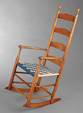 Fig. 2: Rocking armchair designed and manufactured by a Shaker for a community member, New Lebanon, N.Y., ca. 1840. Maple, cloth tape. H. 45-1/4, W. 21-3/4, D. 26 in.