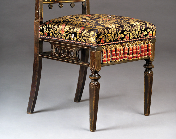 Fig. 4: Side chair designed by Christian  Herter (1839–1883); manufactured  by Herter Brothers (1865–1905),  New York, ca. 1880. Ebonized cherry,  gilding, reproduction silk lampas upholstery  of a documented fabric used on Herter  seating furniture (original foundation).  H. 34, W. 17-1/2, D. 19-1/2 in.