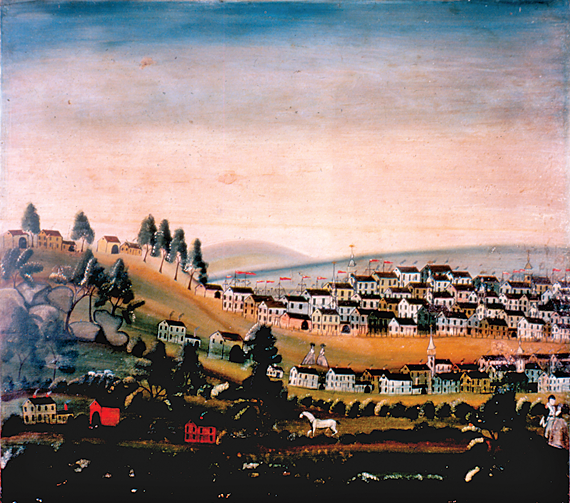 Fig. 1: Overmantel, ca. 1800. Sweeping landscapes were one of the most popular themes in overmantel paintings. In this idyllic, and most likely imaginary, seaside town, a plethora of ship masts dot the coastline, while two disproportionately sized women greet each other along the road. The piece originates to the Perez Walker House that stood near the Walker Pond in Sturbridge, Massachusetts, far from any coast or port. (20.19.3).