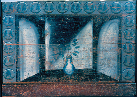 "Fig. 4: Fireboard, ca. 1800. The painted Delft tiles on this fireboard are meant to mimic the look of hearths that used actual English or Dutch tiles as part of their surround. The tree design used on these ""tiles"" was a common subject matter in New England fireboards of this type. This fireboard comes from the Pope House in Spencer, Massachusetts. (20.2.1)."