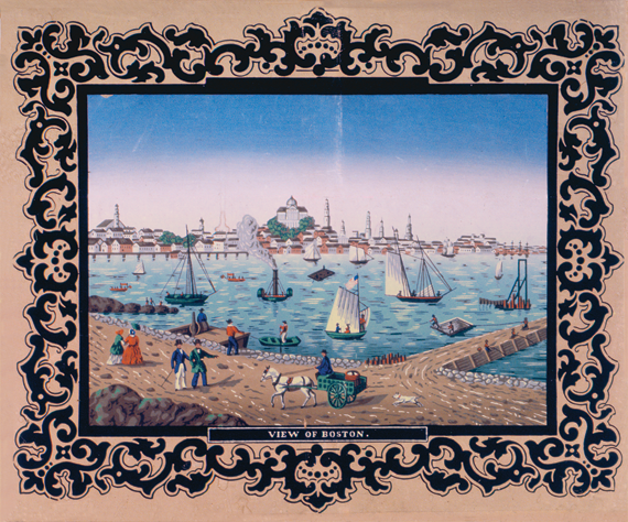 "Fig. 2: Unused fireboard paper, ca. 1840. This ""View of Boston"" block-printed image was made specifically for decorating a fireboard, and is probably based on a French lithograph by Jacques Gerard Milbert (1766–1840), who traveled in the Eastern United States from 1815 to 1823. (20.2.11)."
