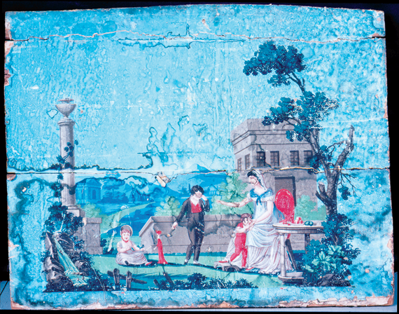 Fig. 6: Fireboard, ca. 1820. The classical theme of the wallpaper used on this fireboard from Maine was a popular motif during the early nineteenth century. (20.2.18).