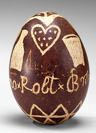 Fig. 2: Easter egg, southeastern Pa., 1850. Winterthur Museum, gift of Jane and Gerald Katcher (2011.35); photography by Richard Goodbody, courtesy David A. Schorsch and Eileen M. Smiles.