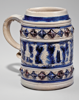 Fig. 8: Mug, Westerwald, Germany, 1700–1730. Cobalt-decorated stoneware. H. 5-1/2 in. Courtesy, The Museum of Early Southern Decorative Arts; gift of Frank L. Horton (2894).
