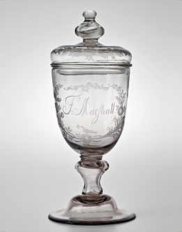 Fig. 9: Covered Goblet, John Frederick Amelung (1741–1798), 1792. Colorless non-lead glass. H. 10-3/4 in. Courtesy, Wachovia Historical Society (C-105).