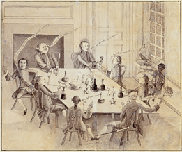 Fig. 12: Mr. Peter Manigault and His Friends, George Roupell (d.1794), St. James, Goose Creek, South Carolina, ca. 1760. Ink and wash drawing on paper. H. 10-3/16, W. 12-3/16 in. Courtesy, Winterthur Museum, museum purchase (1963.73).