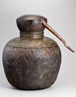Fig. 4: Still, Wythe County, Virginia, 1820-1830. Copper. H. 22, D. 57-1/2 in. Courtesy, Old Salem Museums and Gardens, Old Salem Purchase Fund (2241.15).