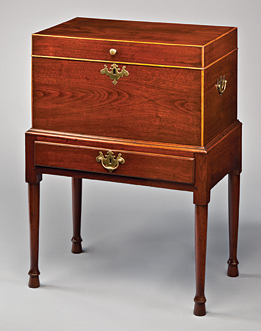 Fig. 6: Cellaret, Petersburg, Virginia, 1760-1780. Walnut, yellow pine, birch. H. 34-/4, W. 25-3/16, 15-3/8 in. Courtesy, The Museum of Early Southern Decorative Arts; MESDA Purchase Fund (4277).