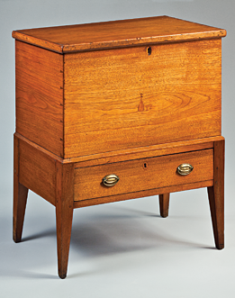 Fig. 7: Sugar Chest, Probably Adair County, Kentucky, 1820–1840. Cherry, walnut, poplar. H. 34-1/4, W. 28, D. 16-5/8 in. Courtesy, private Collection.
