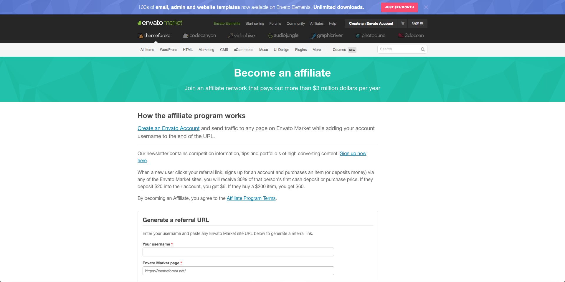 Affiliate Theme Forest Marketing
