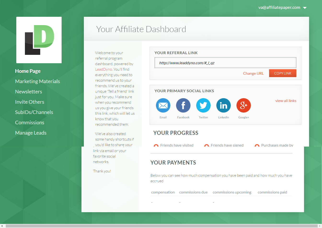 Leaddyno dashboard affiliate program affiliatepaper