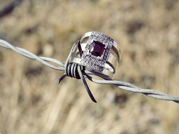 jewelry on barbed wire