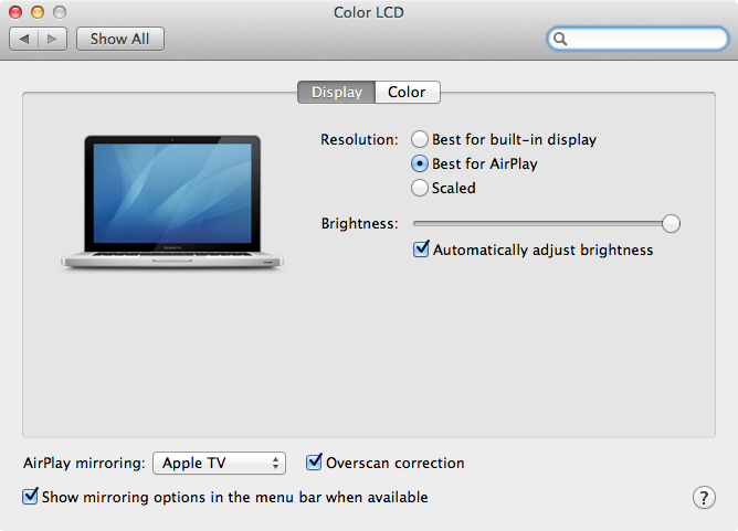 AirPlay Mirroring Mountain Lion
