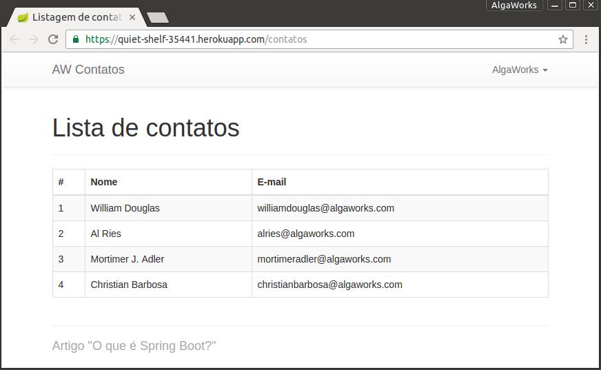 Aplicação com Spring Boot - Lista de contatos