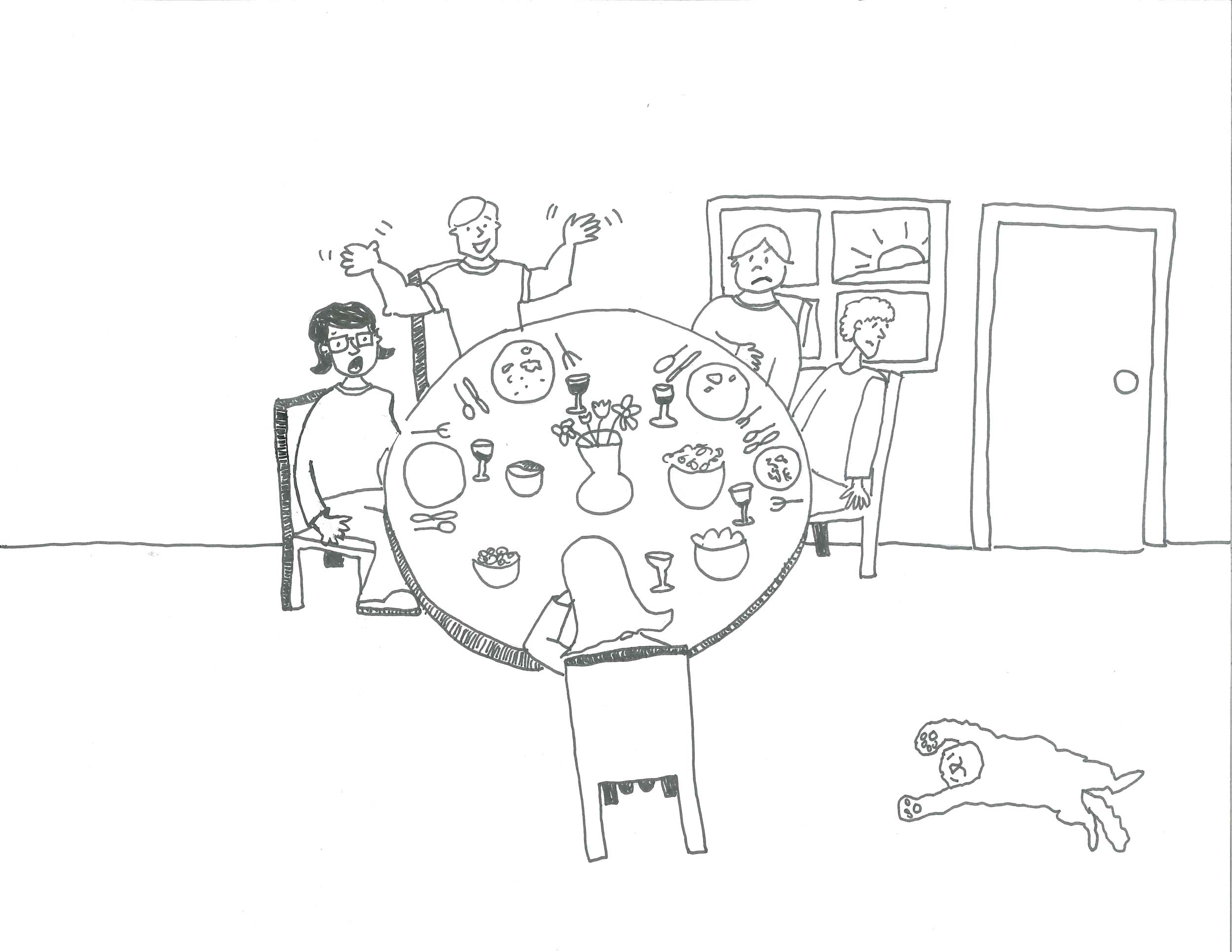 dinner-party-cartoon illustration