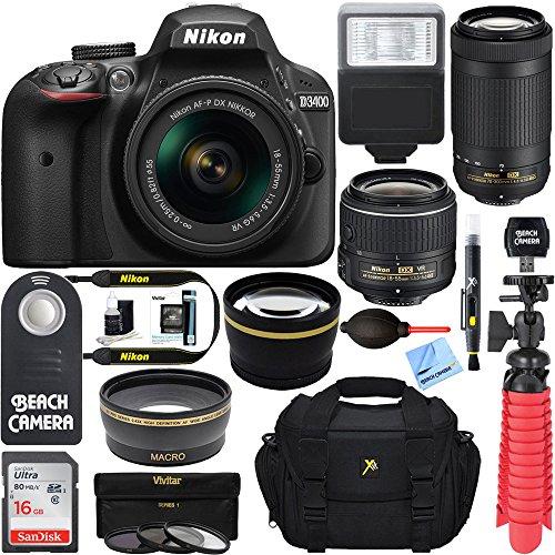 nikon d3400 242mp dslr camera with af p 18 55 vr and 70 300m lenses 1573b - Allshopathome-Best Price Comparison Website,Compare Prices & Save