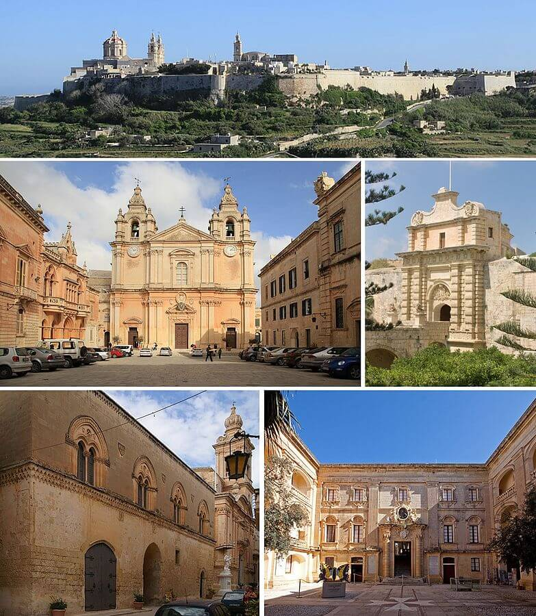 """Mdina montage"" by Xwejnusgozo (montage)Ies, Jean-Christophe BENOIST, Mboesch and Tony Hisgett (original photos) - Cropped from File:Malta - Mdina (Triq San Oswald) 02 ies.jpg, File:Malta - Mdina - Pjazza San Pawl + St. Paul's Cathedral ex 01 ies.jpg, File:Malta-Mdina-Gate.jpg, File:Mdina-palazzo-santa-sofia.JPG and File:Natural History Museum Mdina (6810109710).jpg. Licensed under CC BY-SA 3.0 via Wikimedia Commons - https://commons.wikimedia.org/wiki/File:Mdina_montage.jpg#/media/File:Mdina_montage.jpg"