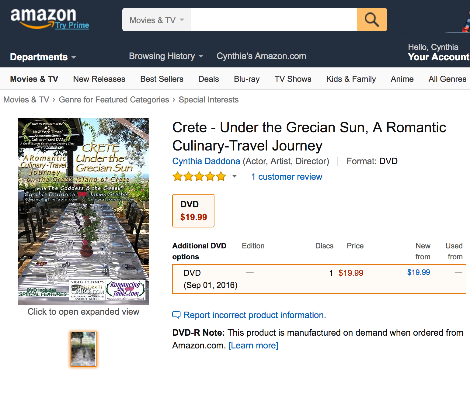 Crete Under the Grecian Sun receives 5-Star rating at Amazon.com