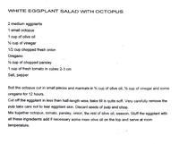 Recipe- While Eggplant &amp; Octopus Summer Salad