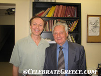 Prof. Christos Doumas (left) and Dr. James Stathis meet at UCLA