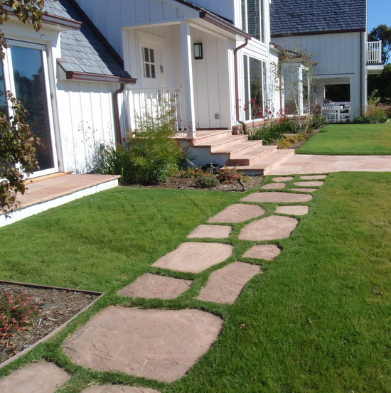 Buffalo grass & flagstone path
